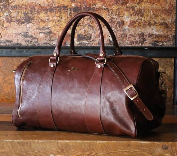 Leather Duffle Bag 21   Floto 141217 Brown   Travel Bag     Etsy 3972793601