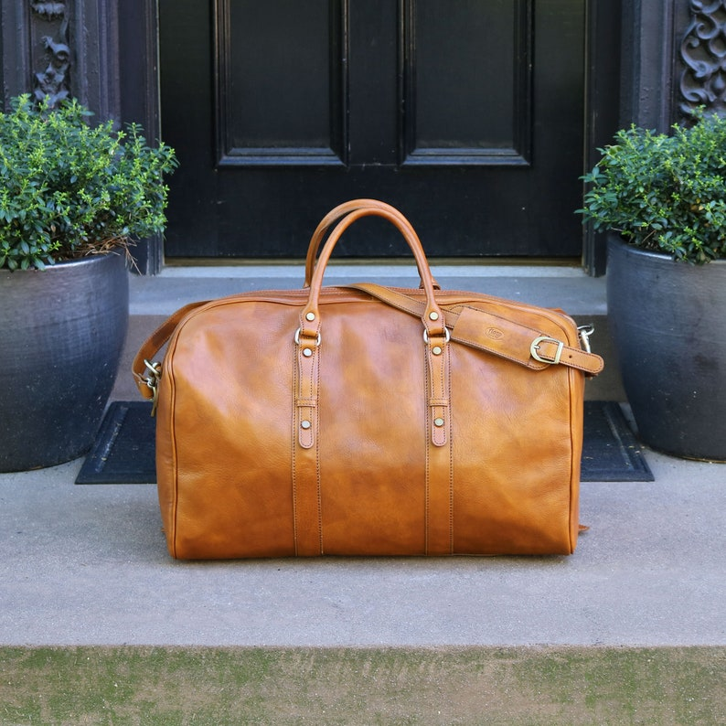 ded351c48374 Venezia Grande, Leather Duffel Bag, Weekend bag, Duffle Bag, mens duffel  bag, Gym Bag, overnight bag (18G-TOBACCO)