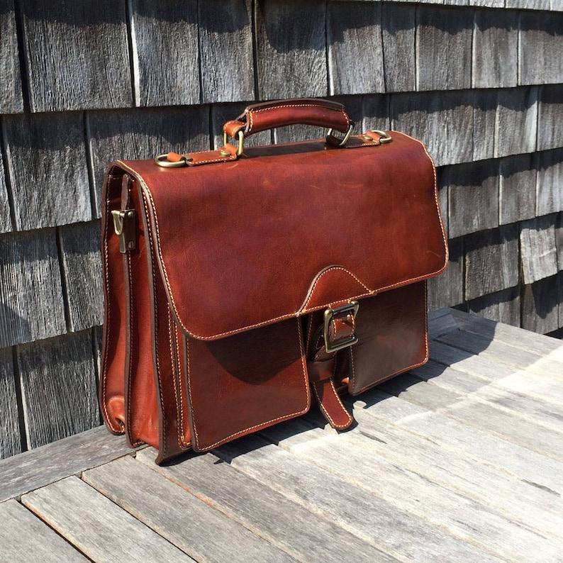 b2f66b44e Floto Leather Briefcase Laptop Bag Men's Leather   Etsy