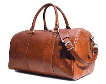 Large Leather Travel Bag,Leather Duffel Bag,Weekender Bag, Cabin Bag, Gym Bag (20101)