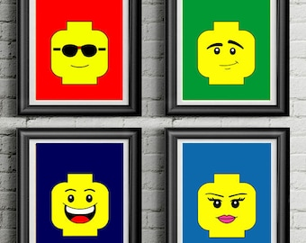 photograph relating to Lego Face Printable titled Lego decor Etsy