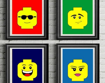 photograph about Lego Faces Printable called Lego artwork Etsy