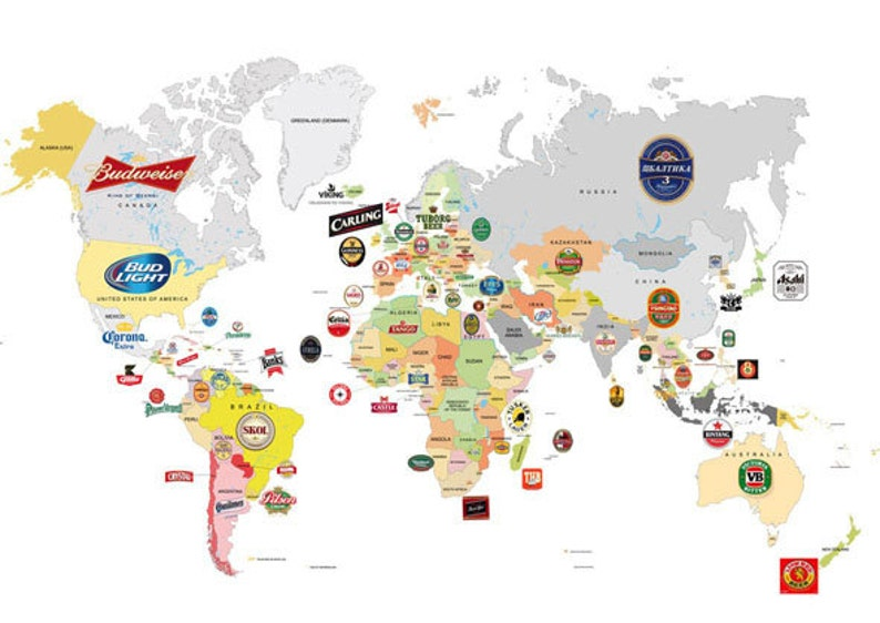 graphic about Large Printable World Map identify High print ,Global Map beer Artwork Print ,electronic,loft,beers,white,kitchen area,bar,brewery,pub,nightclub,BUDLIGHT,budweiser,moretti,corona