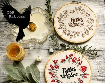 Faerie Mushroom Circle Faeries Welcome Embroidery Pattern...PDF Digital Download