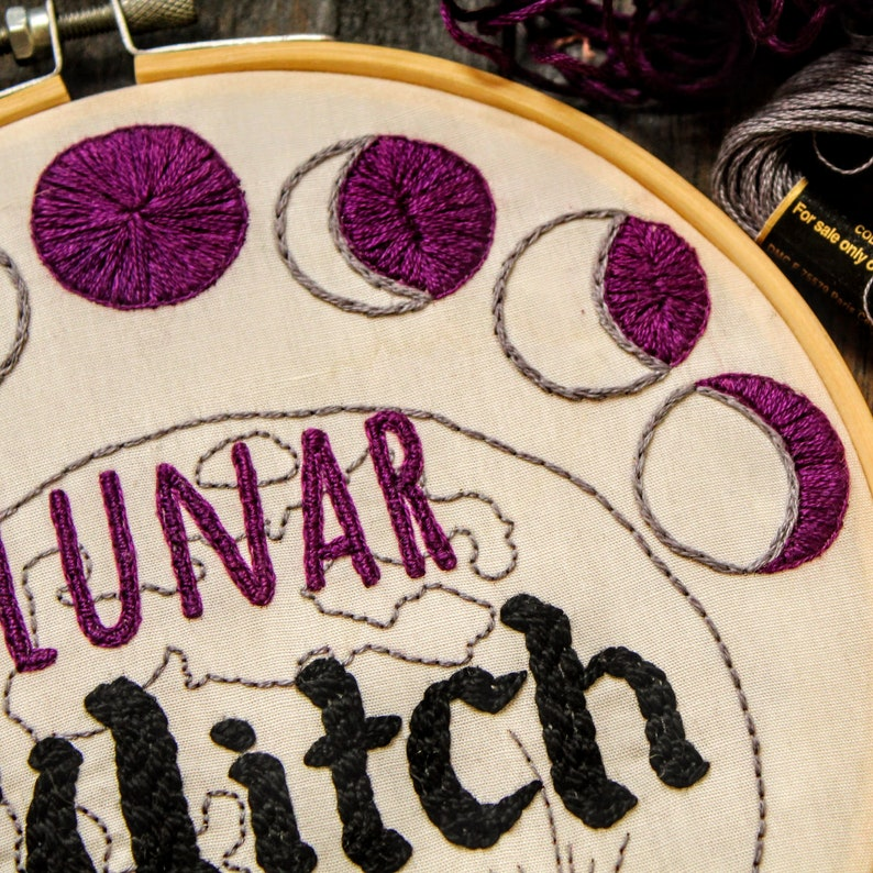 Purple Lunar Witch Embroidery Kit