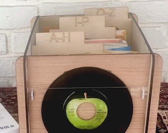 45 RPM - Record Storage Box & Display Frame - PLUS 3 Alpha Record Dividers - All Wood  Design for 45s - The Perfect Three In One Gift