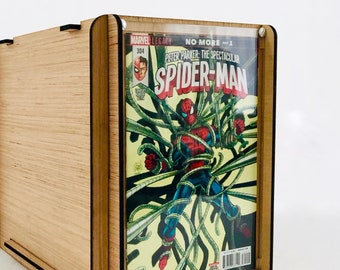 Comic Book Storage & Display Box - Display/Store Comics in an Eco Friendly, Sustainable Wood Storage Box with Lid