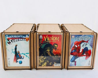 Three, Comic Book Storage Boxes -  Includes a Plexiglass End Frame To Display Favorite Comics -  Great Comic Collector or Father's Gift