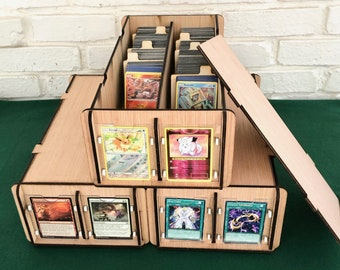Three Collectible Card Deck Boxes with Display Frames & Dividers. Display, Organize, Store Game Cards, Trading Cards, CCG-TCG Cards