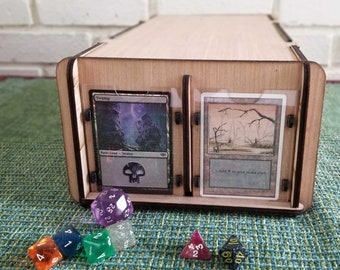 Collectible Card Deck Box with Display Frames & Dividers. Display, Organize, Store Game Cards and CCG-TCG Cards - Trading Card Game Wood Box