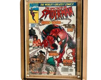 Wood Comic Box PLUS Vintage Spiderman Comic Book - Sept #249 1997 - Kraven & Calypso - Perfect Storage for Comic Collector Plus Great Comic