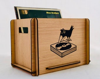 Record Storage Crate - Funky, Retro Graphic - Display Vintage & New Vinyl LPs in Space Saving Box for Studio, Apartment, Dorm or Loft