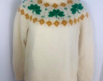 f59a6529819 Ireland Wool Sweater Irish Gold Clover Vintage Sweater Lucky Irishman MADE  in IRELAND Hand Knit Blarney Fair Isle
