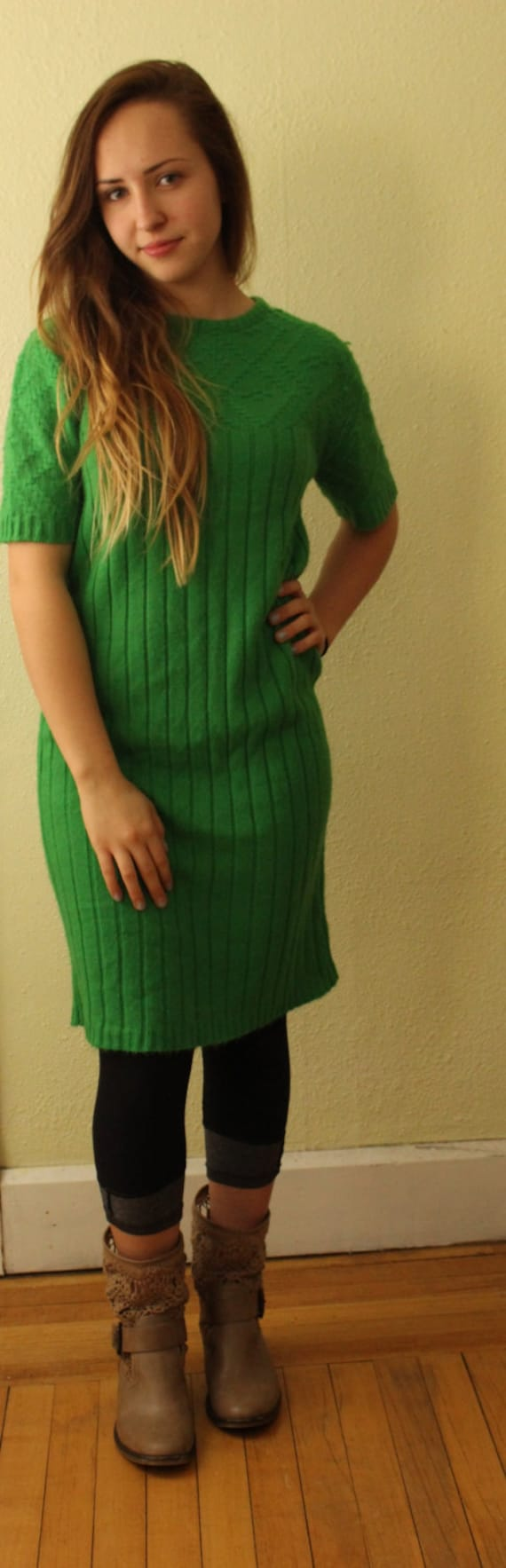 Vintage Sweater Green with Envy Sweater Dress Kel… - image 2