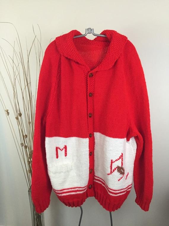 Vintage Hand Knit FOOTBALL Sweater Men's XL Cardig