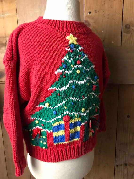 8b82ebde8b7 Vintage Childrens Pullover Sweater Red Hand Knit Christmas