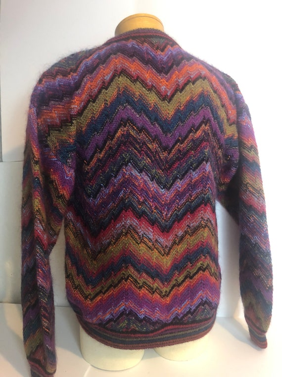 Vintage Wool Chevron Sweater Mens Large Wool Dress