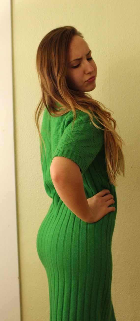 Vintage Sweater Green with Envy Sweater Dress Kel… - image 3