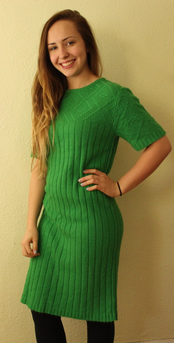 Vintage Sweater Green with Envy Sweater Dress Kel… - image 1