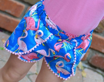Kids Flamingo Festival Shorts, Girls Shorts with flamingos, Shorts with pom poms, Boho shorts, Available Sizes: 6 months-12 girls