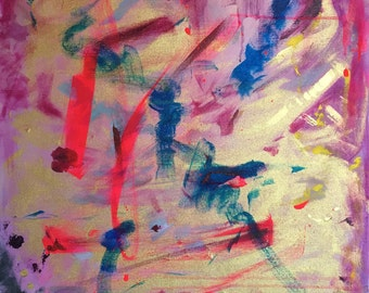 Abstract 24 x 36 Original acrylic painting on stretched canvas. Neon Pink, Blue, Yellow and Gold.