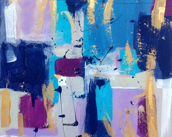 Abstract 16 x 20 Original acrylic painting on stretched canvas. Blue, Purple and Gold.