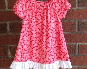 Peasant dress//  baby peasant dress // cherry fabric // toddler peasant dress// 3 6 12 18 24 months // short or long sleeves