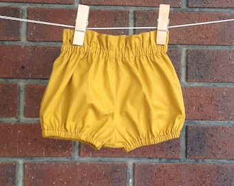 edae4913320 HIGH WAIST SHORTS    baby and toddler    solid mustard cotton poplin     sizes to 5T    bloomers and shorts girls