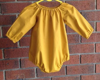 139fe17d30f Mustard bubble romper baby and toddler girl    cotton poplin fabric     short or long sleeves    size nb 3 6 12 18 mths 2T