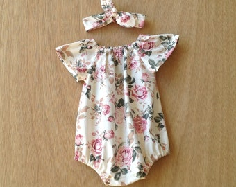 924decced13 Baby girl rompers   pink and cream vintage rose floral romper   short or  long sleeves   handmade gift   NB 3 6 12 18 months 2T