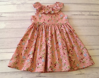 edf9b47cb Baby girl dress, toddler girl dress, Dusty pink floral party dress // Size  NB 3 6 12 18 months, 2T, 3T, 4T, 5T // girls dresses