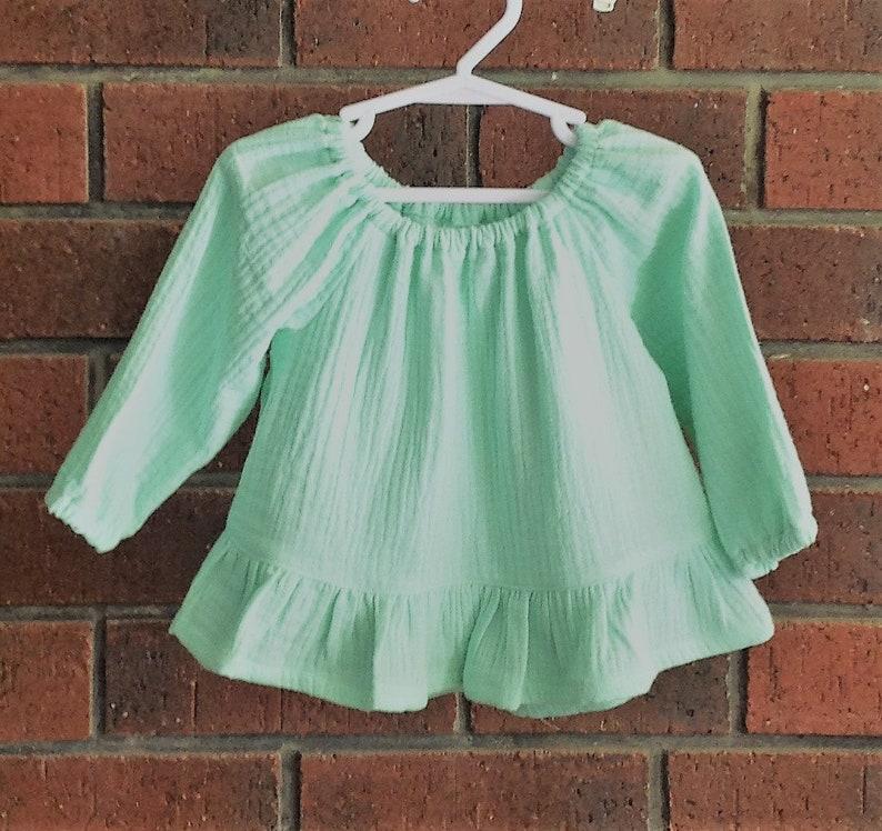 7c79d3ee1 Baby girl tops muslin // mint cotton double gauze fabric //   Etsy