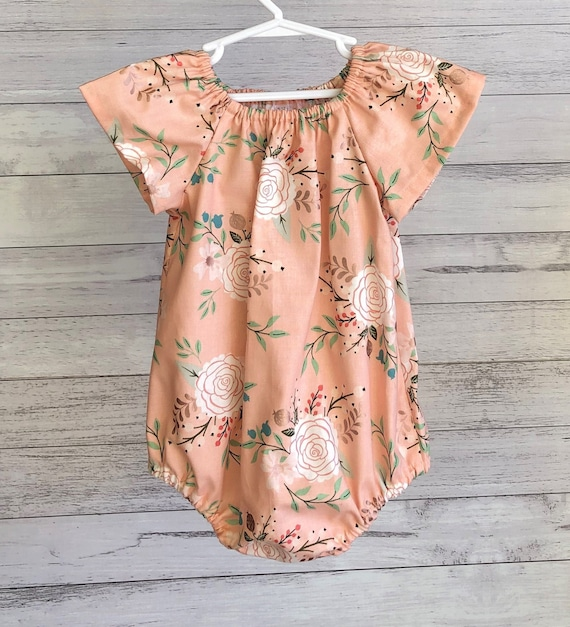 Baby or toddler girl romper, peach pink floral short or long sleeves, designer fabric rose gold accents size nb 3 6 12 18 mths 2T 3T 4T