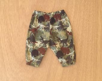 BABY BOY PANTS, dinosaur clothes,  size 3 6 12 18 24 months, cotton baby harem pants, toddler boy pants