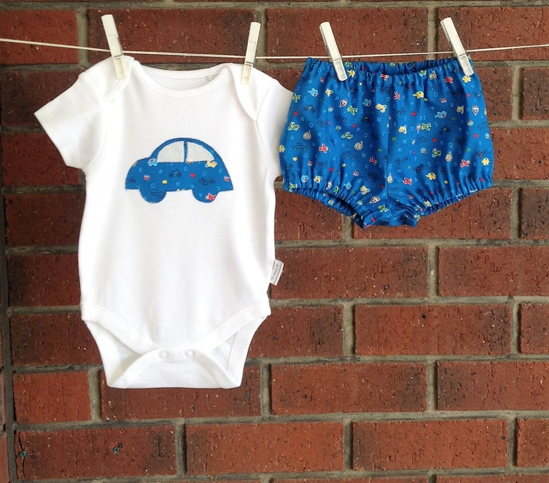 Baby Boy Blue Car Set Onesie and Pants | Stay at Home Mum