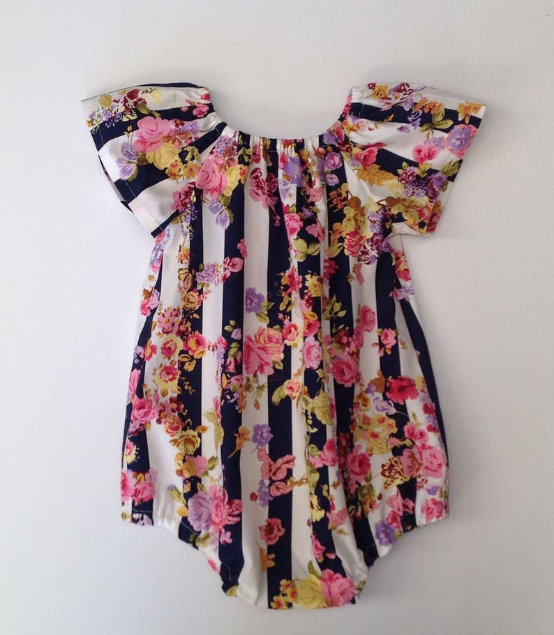 0cfe613e51d Bubble rompers navy stripe floral    baby or toddler girl