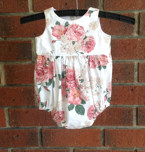 2e8c38723f8 Baby girl bubble romper    pink rose floral tea party playsuit