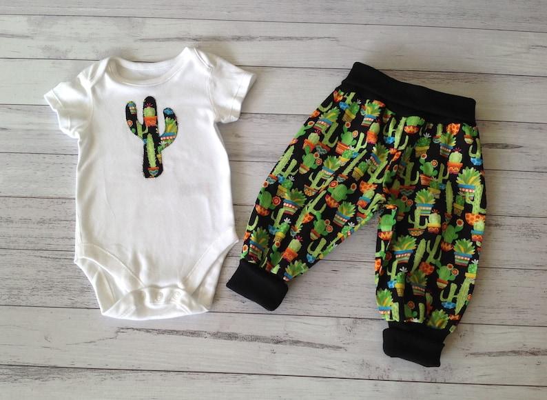 Baby boy clothes unique gender neutral baby outfit cactus fabric 2 piece set applique bodysuit and pants nb 3 6 12 18 mths