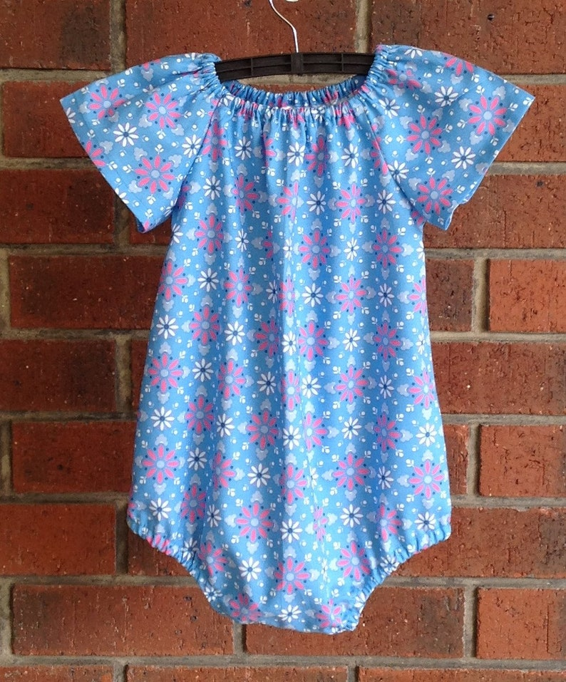 ad222c526c3 Baby or toddler rompers    aqua and pink    cotton romper