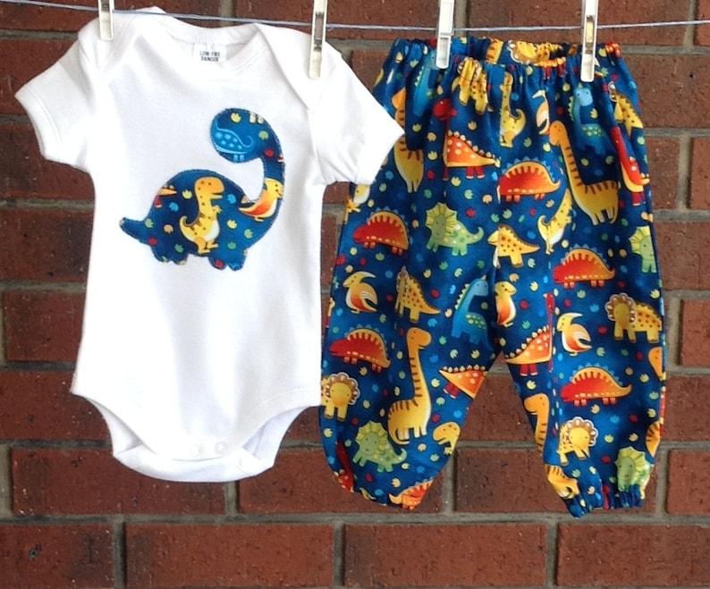 d5fc85543597 DINOSAUR OUTFIT BABY boys blue set cotton harem pants size
