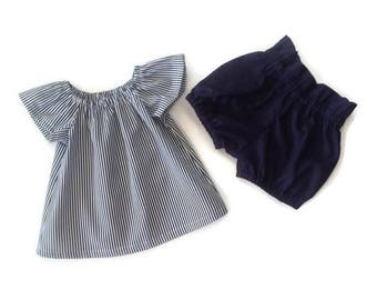 Shorts sets , baby and toddler girl, navy and white 2 piece set, size 3 6 12 18 2T,3T, high waist shorts and top cotton fabric