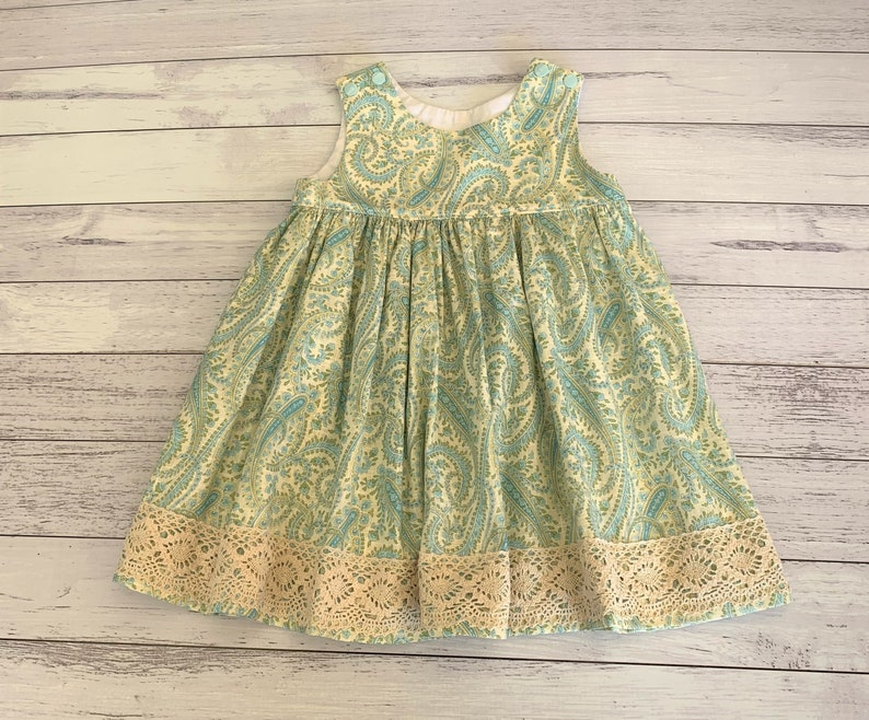 Size 12 months blue and beige paisley genuine handmade dress  special occasion first birthday baby girl dress