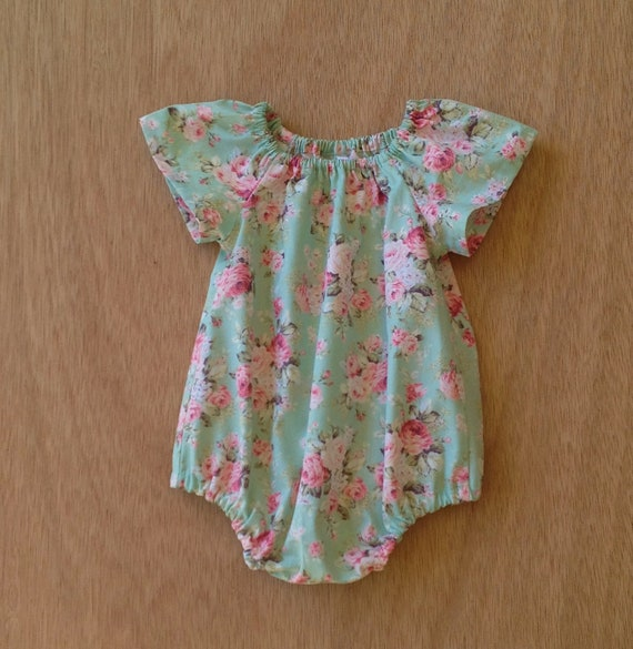 cb7ca69c1 Mint floral Romper Baby or toddler Play Suit cute baby girl | Etsy