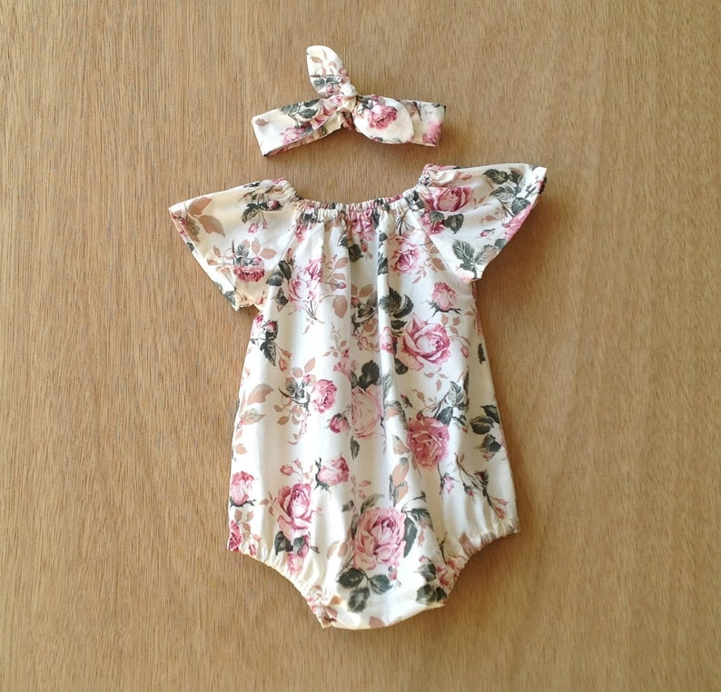 279abd9bd607e Baby girl rompers //pink and cream vintage rose floral romper | Etsy
