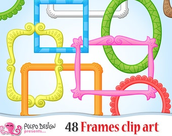 48 Frames clipart. Commercial and personal use, Instant download.  JPG and PNG clip art Frames. Square rectangle circle oval Colorful frames