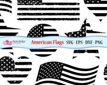 American flag SVG. Monochromatic Usa flag clip art in Svg, Eps, Dxf and Png. Grunge Flag, distressed svg, American heart svg, USA star svg.