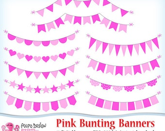 Valentines Day Bunting Banners Clipart Digital Clip Art Etsy