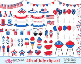 4th of July clipart. 4th of July clip art. America Clipart, Independence Day clipart, Fourth of July clipart, digital Patriotic clipart.