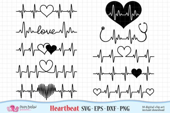 Heartbeat Valentine's SVG  Digital clipart in Svg Eps Dxf