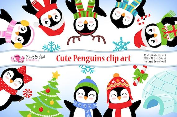 cute penguins clipart christmas penguin scrapbook winter. Black Bedroom Furniture Sets. Home Design Ideas